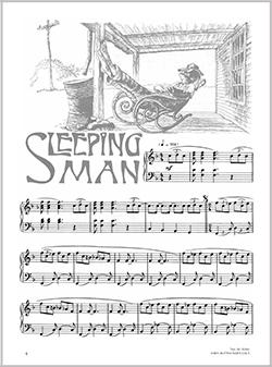 partition piano sleeping man